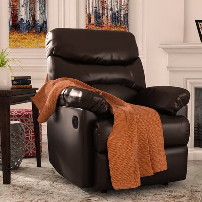 Rossville Chaise Manual Wall Hugger Recliner Upholstery: Brown
