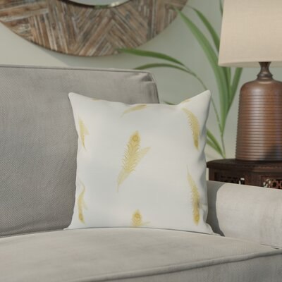 Arlo Feather Floral Outdoor Throw Pillow Size: 16 H x 16 W, Color: Gold