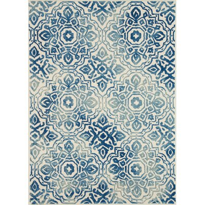 Demars Hand-Knotted Wool Blue/Ivory Area Rug Rug Size: Rectangle 76 x 96