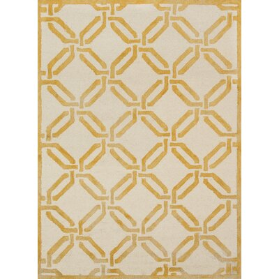Cutlip Hand-Knotted Wool Yellow/Ivory Area Rug Rug Size: Rectangle 76 x 96