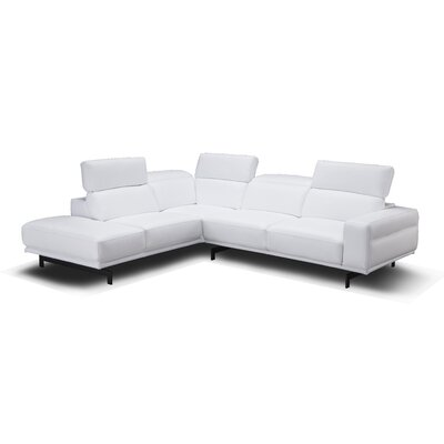 Paulk Leather Sleeper Sectional Ulphostery: Snow White, Orientation: Left Hand Facing