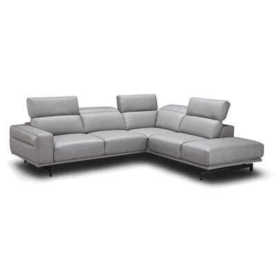 Paulk Leather Sectional Ulphostery: Light Grey, Orientation: Right Hand Facing