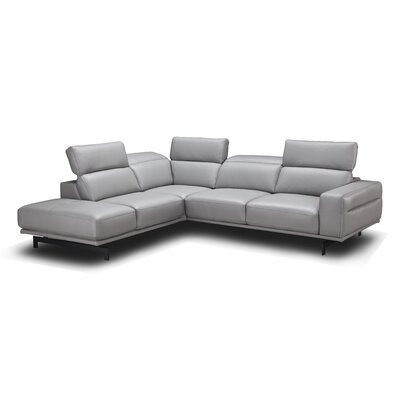 Paulk Leather Sectional Ulphostery: Light Grey, Orientation: Left Hand Facing