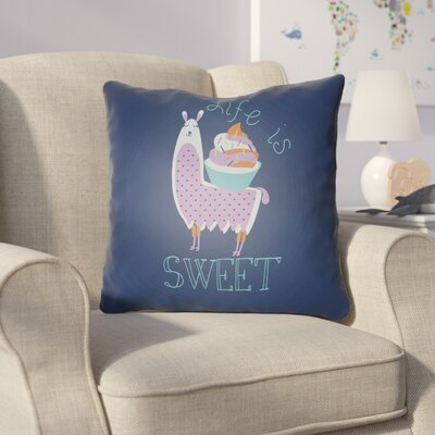 Colinda Life Is Sweet Throw Pillow Size: 18 H x 18 W x 4 D, Color: Dark Blue