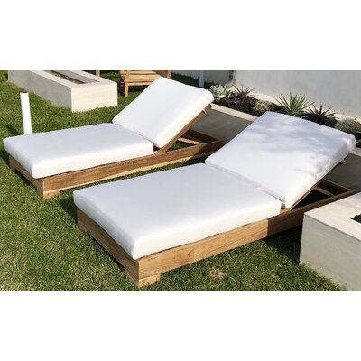 View Teak Reclining Chaise Lounge Cushion Product Photo