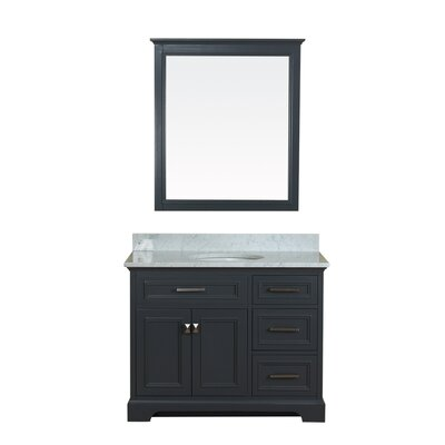 Coston 43 Single Bathroom Vanity Set with Mirror Base Finish: Gray