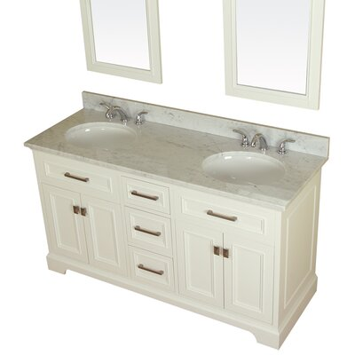 Coston 61 Double Bathroom Vanity Set Base Finish: Linen White