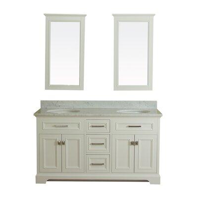 Coston 61 Double Bathroom Vanity Set with Mirror Base Finish: Linen White