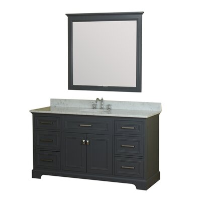 Coston 61 Single Bathroom Vanity Set with Mirror Base Finish: Gray