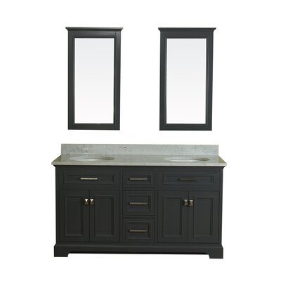 Coston 61 Double Bathroom Vanity Set with Mirror Base Finish: Gray