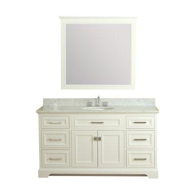 Coston 61 Single Bathroom Vanity Set with Mirror Base Finish: Linen White