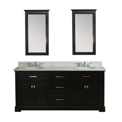 Coston 73 Double Bathroom Vanity Set with Mirror Base Finish: Espresso