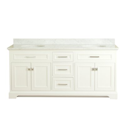 Coston 73 Double Bathroom Vanity Set Base Finish: Linen White