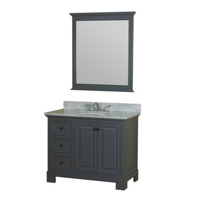 Cothern 42 Single Bathroom Vanity Set with Mirror Base Finish: Gray