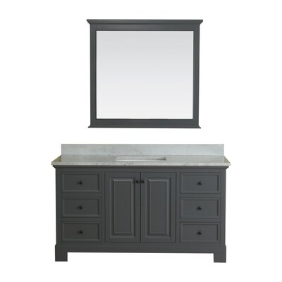 Cothern 60 Single Bathroom Vanity Set with Mirror Base Finish: Gray