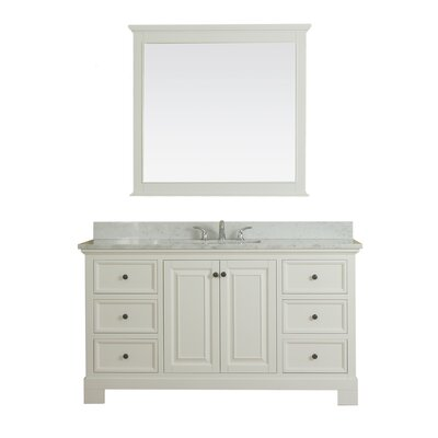 Cothern 60 Single Bathroom Vanity Set with Mirror Base Finish: White