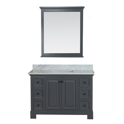 Cothern 48 Single Bathroom Vanity Set with Mirror Base Finish: Gray