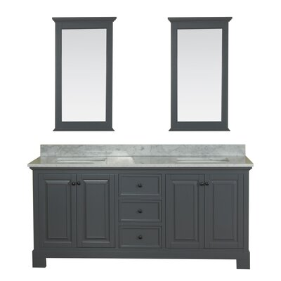Cothern 72 Double Bathroom Vanity Set with Mirror Base Finish: Gray