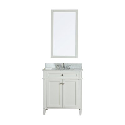 Costillo 30 Single Bathroom Vanity Set with Mirror Base Finish: Linen White