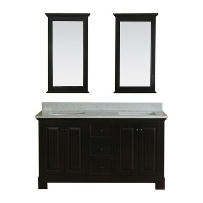 Cothern 60 Double Bathroom Vanity Set with Mirror Base Finish: Espresso