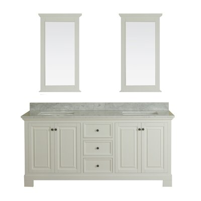 Cothern 72 Double Bathroom Vanity Set with Mirror Base Finish: White