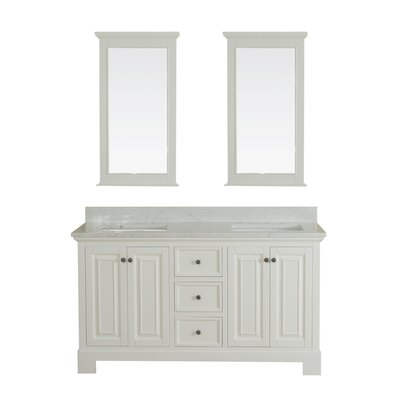 Cothern 60 Double Bathroom Vanity Set with Mirror Base Finish: White