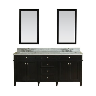Costillo 72 Double Bathroom Vanity Set with Mirror Base Finish: Espresso