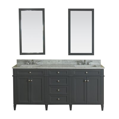 Costillo 72 Double Bathroom Vanity Set with Mirror Base Finish: Gray