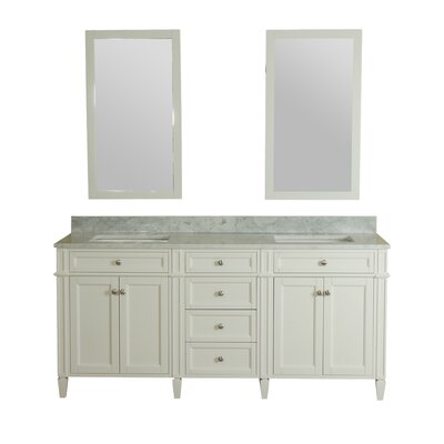 Costillo 72 Double Bathroom Vanity Set with Mirror Base Finish: Linen White