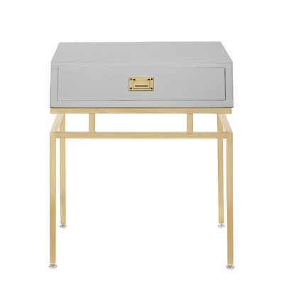 Krupa End Table with Storage Color: Gray