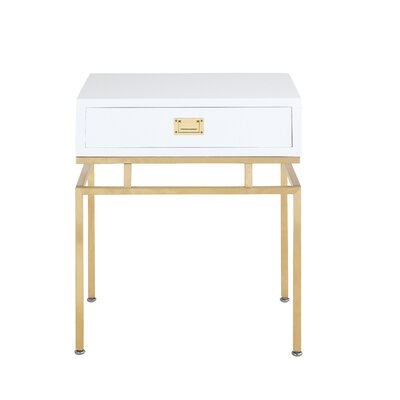Krupa End Table with Storage Color: White