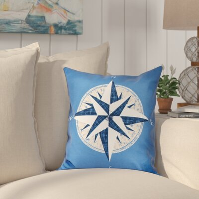 Hancock Compass Geometric Print Throw Pillow Size: 18 H x 18 W, Color: Blue