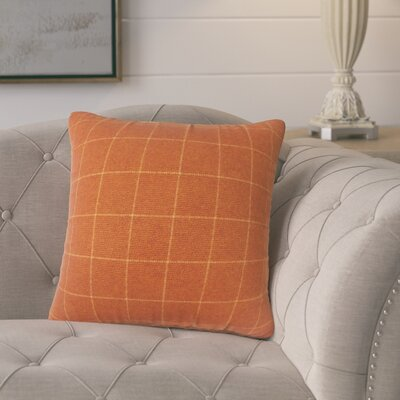 Harshil Plaid Down Filled Throw Pillow Size: 24 x 24, Color: Orange
