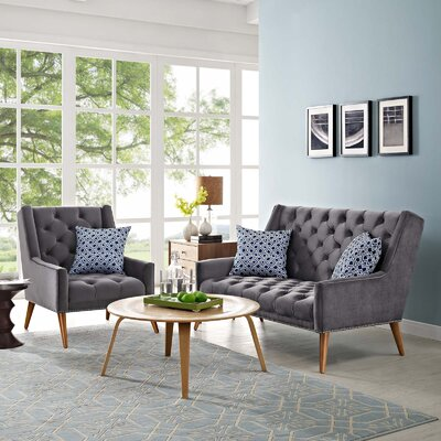 Mcwilliams 2 Piece Living Room Set Upholstery: Gray