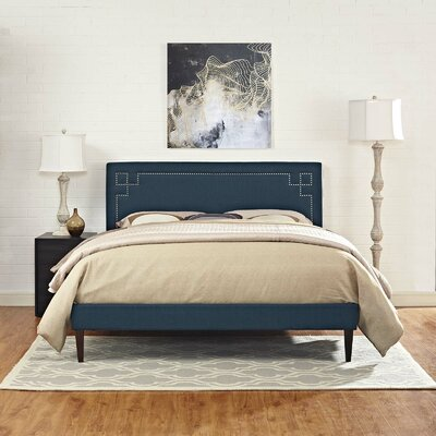 McSherry Upholstered Platform Bed Color: Azure, Size: Twin