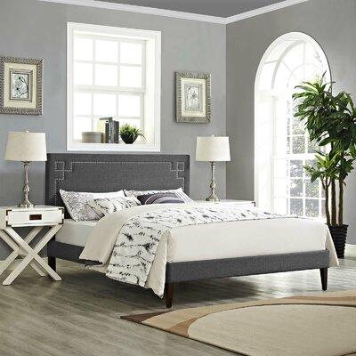 McSherry Upholstered Platform Bed Color: Gray, Size: Queen