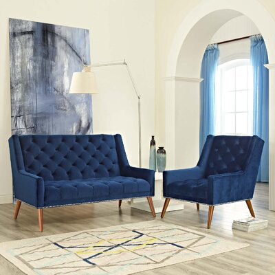Mcwilliams 2 Piece Living Room Set Upholstery: Navy