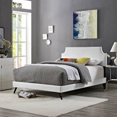 Hertzler Upholstered Platform Bed Color: White, Size: Queen
