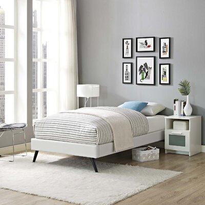 Peres Upholstered Platform Bed Color: White, Size: King