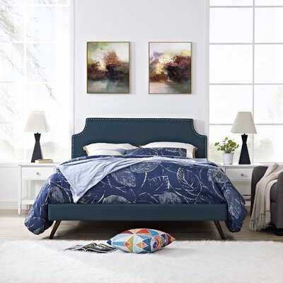 Hertzler Upholstered Platform Bed Color: Azure, Size: Queen