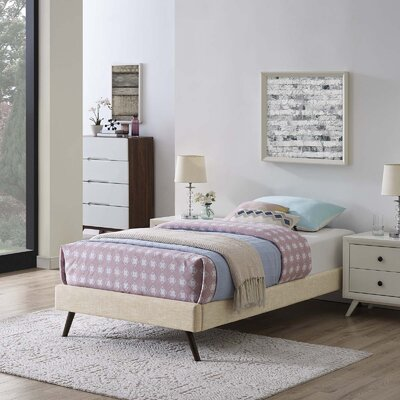 Peres Upholstered Platform Bed Color: Beige, Size: Twin