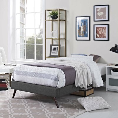 Peres Upholstered Platform Bed Color: Gray, Size: Twin