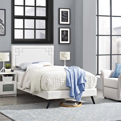 Mcshan Upholstered Platform Bed Color: White, Size: Twin