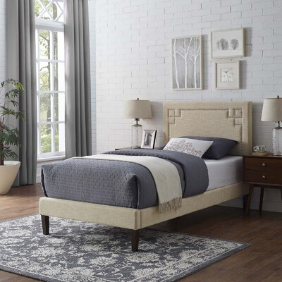 McSherry Upholstered Platform Bed Color: Beige, Size: Queen
