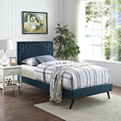 Mcshan Upholstered Platform Bed Color: Azure, Size: Twin