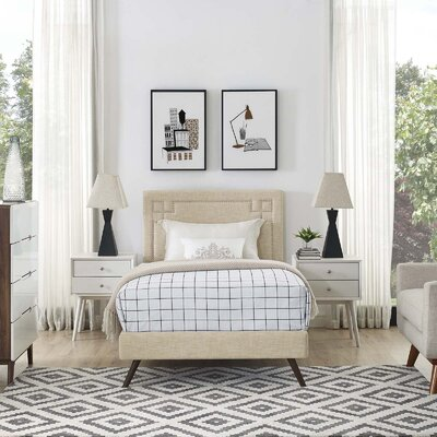 Mcshan Upholstered Platform Bed Color: Beige, Size: Twin