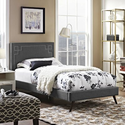 Mcshan Upholstered Platform Bed Color: Gray, Size: Queen
