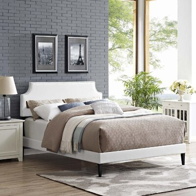 Hertzler Upholstered Platform Bed Color: White, Size: Twin