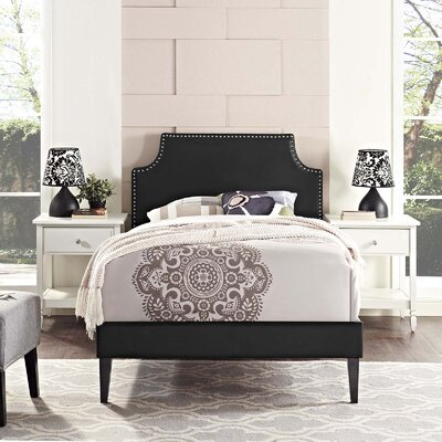 Hertzler Upholstered Platform Bed Color: Black, Size: Twin