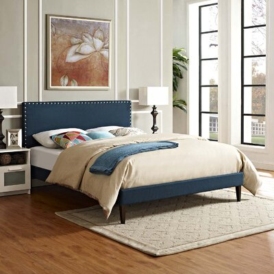 Hervey Upholstered Platform Bed Color: Azure, Size: King